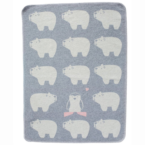 DAVID FUSSENEGGER - GREY POLAR BEARS JUWEL BASSINET BLANKET