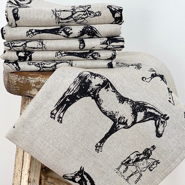 BLACK HORSES LINEN TEA TOWEL