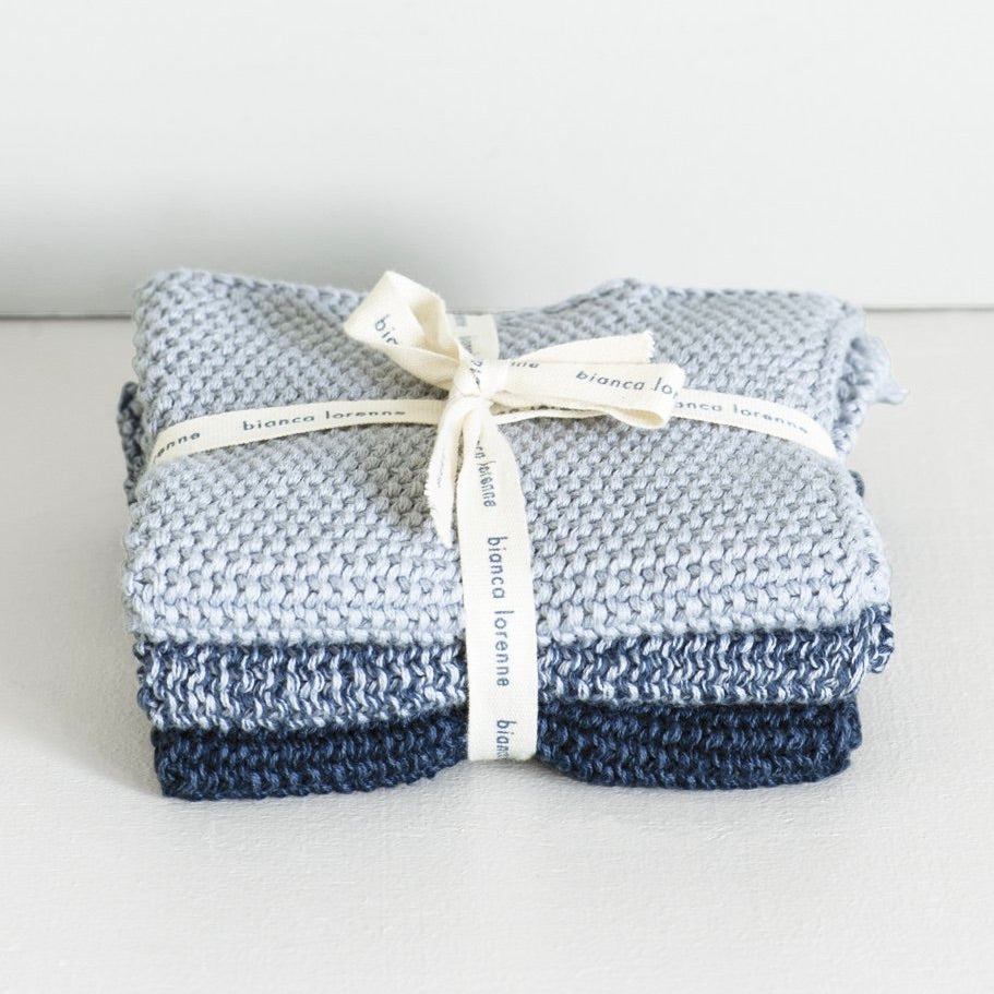 LAVETTE WASHCLOTHS - Set of 3 - INDIGO