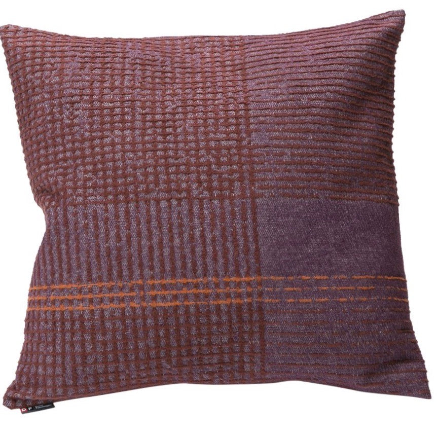 DAVID FUSSENEGGER- DECO PLUM LINES CROSSED CUSHION 60CM X  60CM