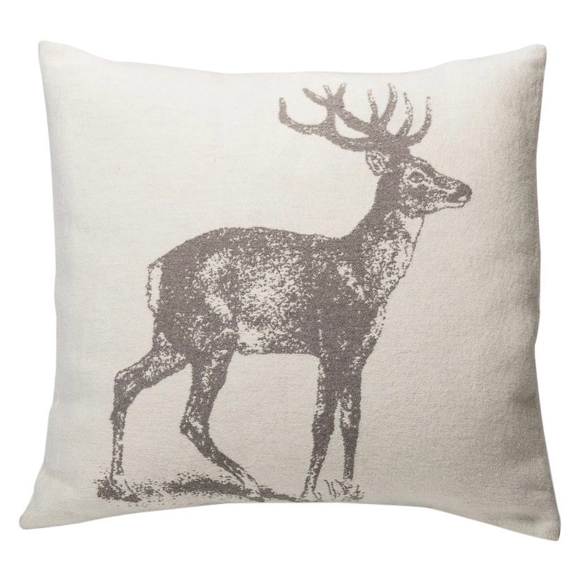 DAVID FUSSENEGGER- NOVA OFF WHITE STAG CUSHION 60CM X  60CM