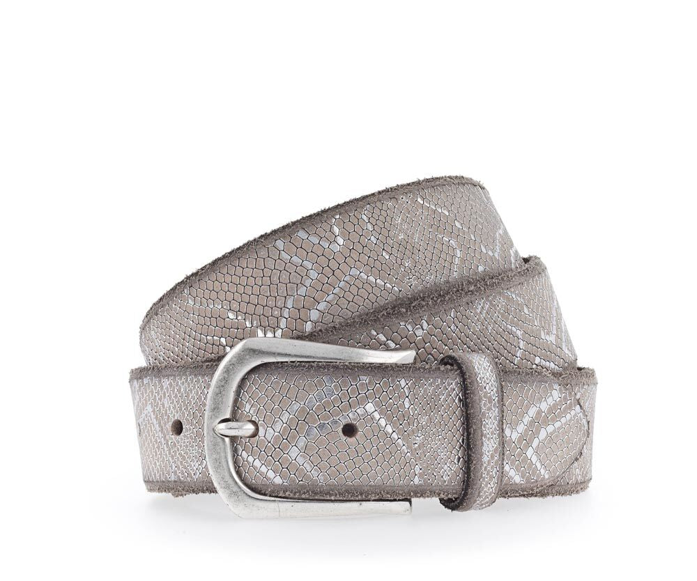 B BELT -   SABIA - IVORY/ SILVER METALLIC LEATHER BELT 1215