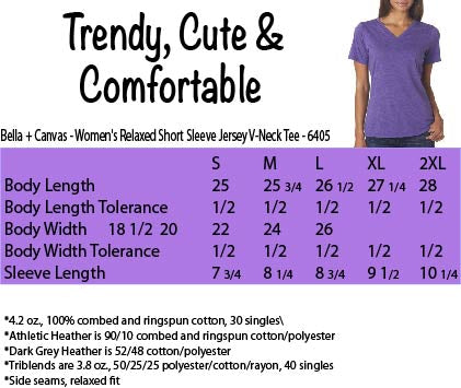 Size Chart for Bella+Canvas V-Neck Women's Shirt