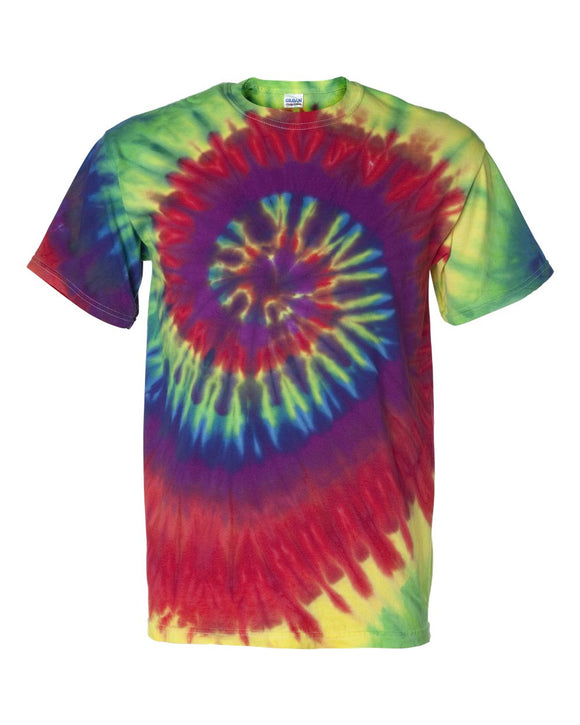 Dyenomite - Classic Rainbow - Colorful Spiral Short Sleeve Tie Dye T-Shirt