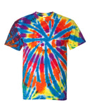 Dyenomite - Champ - Multi-Color Rainbow Cut-Spiral Short Sleeve Tie Dye T-Shirt