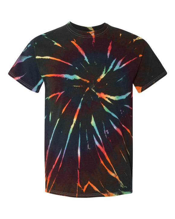 Dyenomite - Aurora - Colorful Spiral Short Sleeve Tie Dye T-Shirt