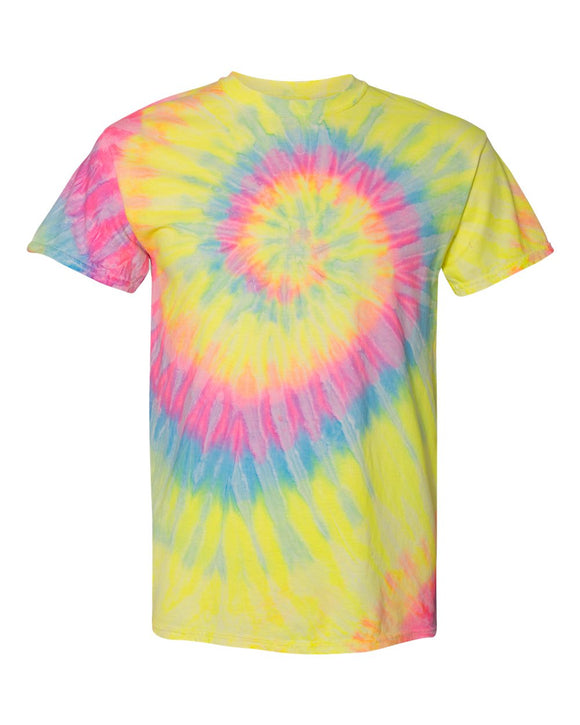 Dyenomite - Dayglo - Colorful Spiral Short Sleeve Tie Dye T-Shirt