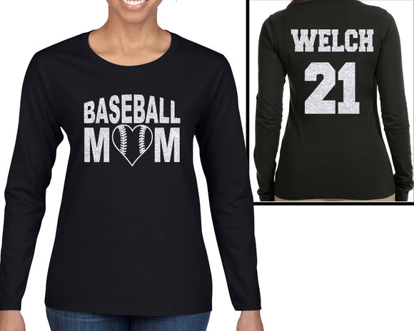 Baseball Mom Personalized Glitter Bling Long Sleeve Womens Shirt