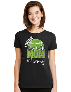 Baseball Mom Glitter Design Cotton Women's Tee Shirt with Team and Ball Player's Name