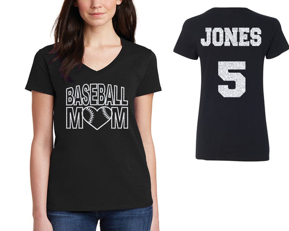 Custom Personalized Baseball Mom Glitter Design Cotton Women's V-Neck Tee Shirt