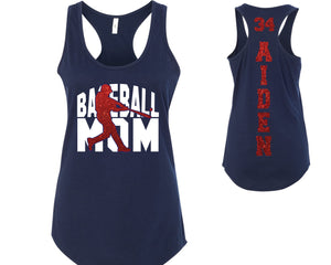 Custom Personalized Baseball Mom Glitter Womens Tank Top Support Your Team Son Any Number Any Colors Baseball Lets Play Ball Spirit Wear