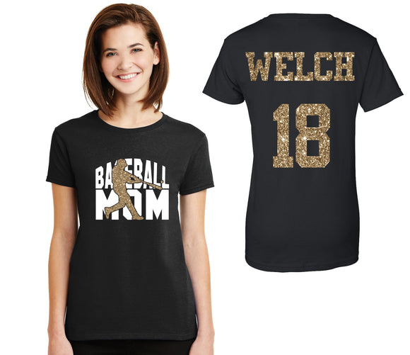 Baseball Mom Glitter Design Cotton Women's Tee Shirt with Personalization on Back