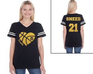 Custom Name and Number Basketball Heart Glitter Women's Tee Support Your Team Any Number Any Colors Spirit Wear Gear