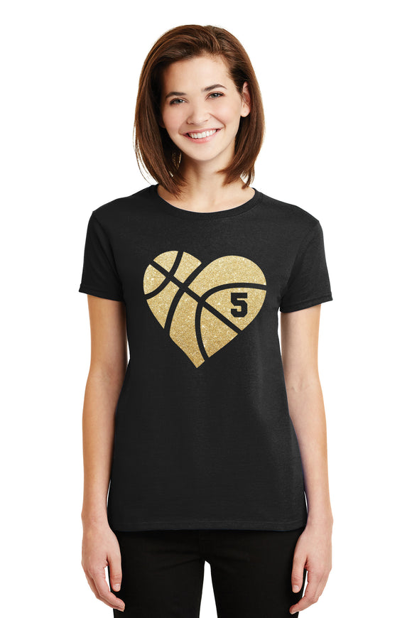 Amazing Basketball Heart Glitter Design Cotton Women's Tee Shirt with Ball Player's Number