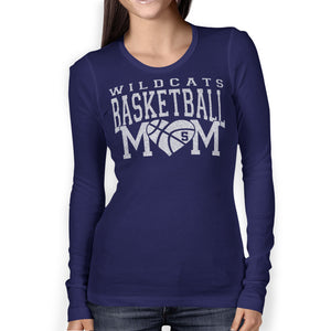 51e9ee4fa Personalized Basketball Mom Glitter Bling Long Sleeve Women s Shirt Fully  Customized
