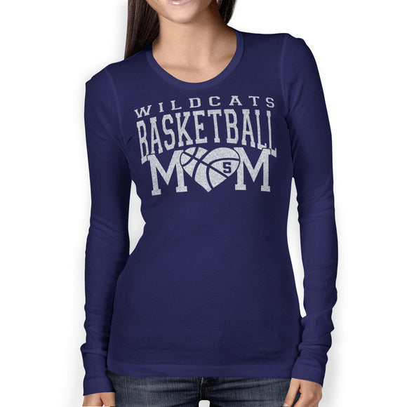 Personalized Basketball Mom Glitter Bling Long Sleeve Women's Shirt Fully Customized