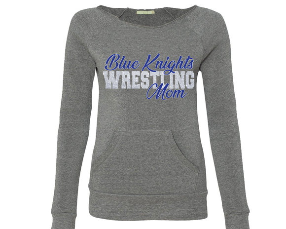 Blue Knights Wrestling Mom Women's Sponge Fleece Wideneck Slouchy Sweatshirt-GREY