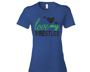 "Blue Knights ""Love My Wrestler"" Wrestling Glitter Design Cotton Women's Tee Shirt"