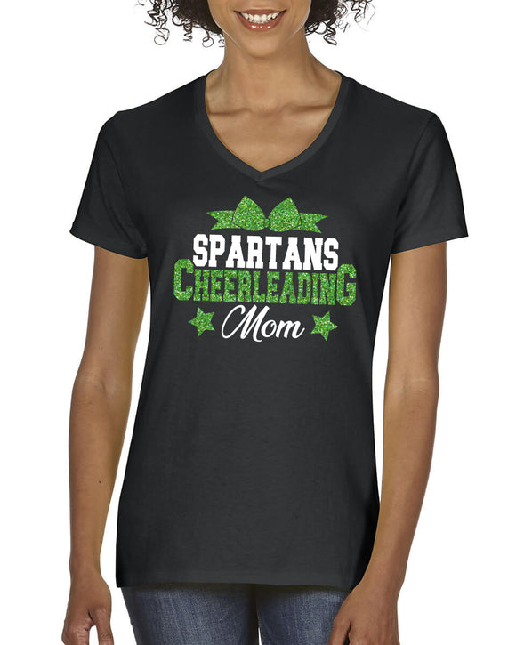 Custom Cheer Mom Glitter Design Cotton Women's V-Neck Tee Shirt with Team Mascot