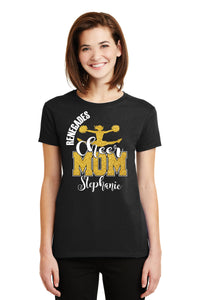 Custom Cheer Mom Glitter Design Women's Ultra Cotton Tee Shirt Spirit Wear Glitter Bling Design Cheer Leader Mother Any Color Combo