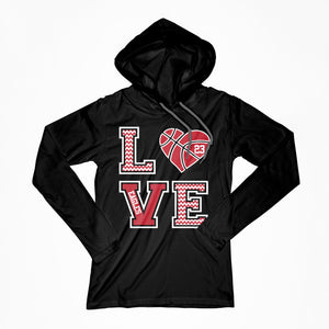 Love Basketball Chevron Design Lightweight Hoodie with Name and Number