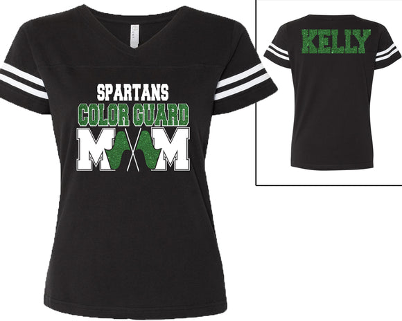 Custom Name Color Guard Mom with Personalization Glitter Womens Tee Support Your Dancer and School Any Name and Colors