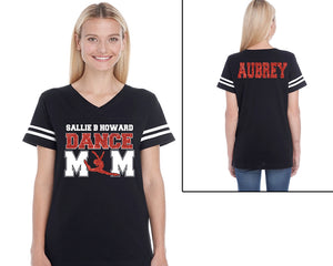 Custom Name Dance Mom with Personalization Glitter Women's Tee Support Your Dancer and School Any Name and Colors