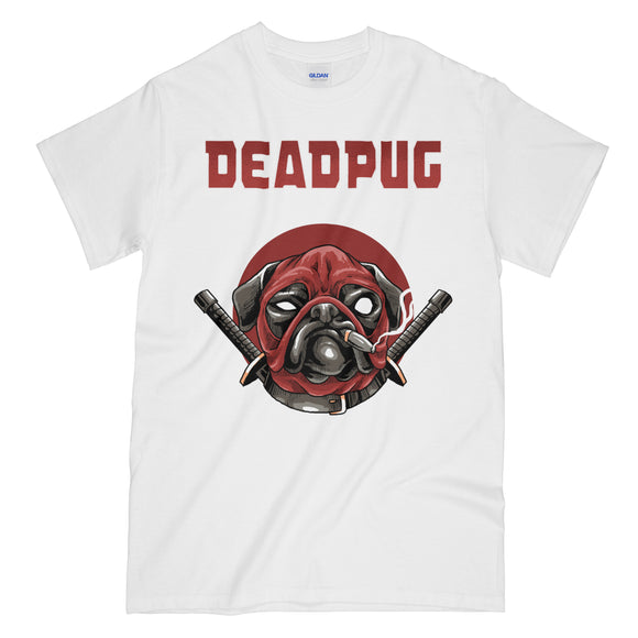 Very Funny Deadpool Pug White Graphic Tee Shirt - Deadpug