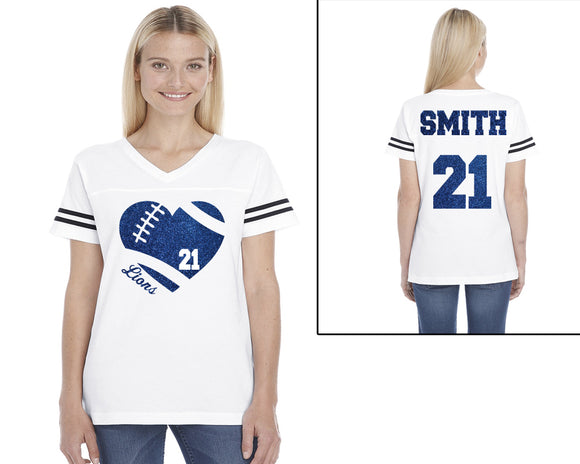 Custom Football Heart Personalized Glitter Women's Football V-Neck Tee Shirt with Team Name