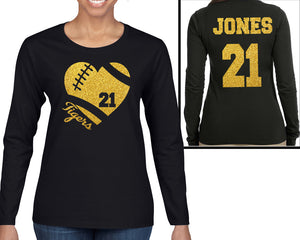 Glitter Football Heart with Team Name, Number and Customized Back Personalization