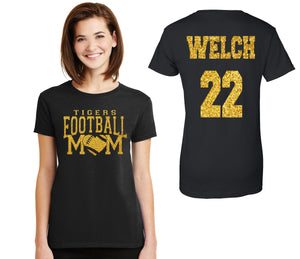 Amazing Football Mom Glitter Design Cotton Women's Tee Shirt with Team Name, Player Name and Number