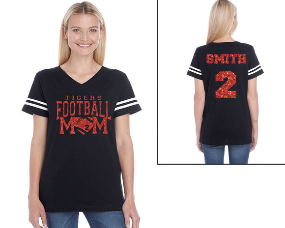 Custom Football Mom Personalized Glitter Women's Football V-Neck Tee Shirt