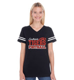 Custom Football Spirit Wear Glitter Women's Football V-Neck Tee Shirt