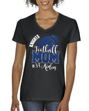 Personalized Custom Football Mom Glitter Design Cotton Women's V-Neck Tee Shirt