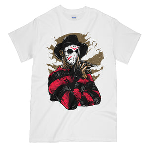 Freddy VS Jason Funny White Graphic Tee Shirt - Friday the 13th Nightmare on Elm Street Mashup