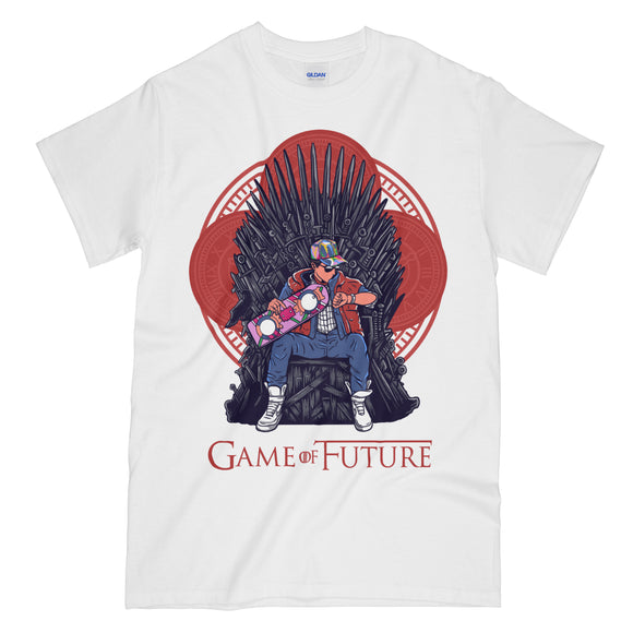 Game of Future Funny White Graphic Tee Shirt - Back to the Future Game of Thrones Mashup