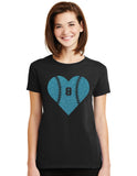 Amazing Baseball Heart Glitter Design Cotton Women's Tee Shirt with Ball Player's Number