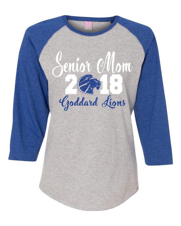 Goddard Lions Senior Mom Raglan Royal Blue Lady's Shirt By LAT