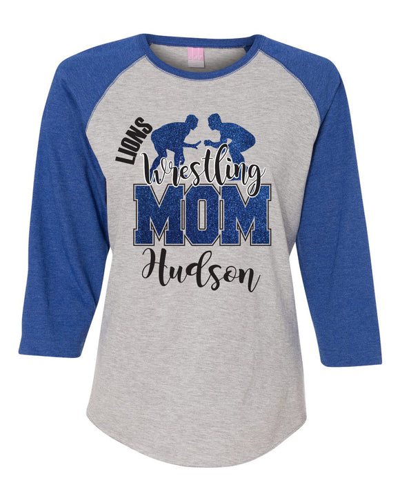 Goddard Lions Glitter Wrestling Mom Raglan Royal Blue Lady's Shirt By LAT