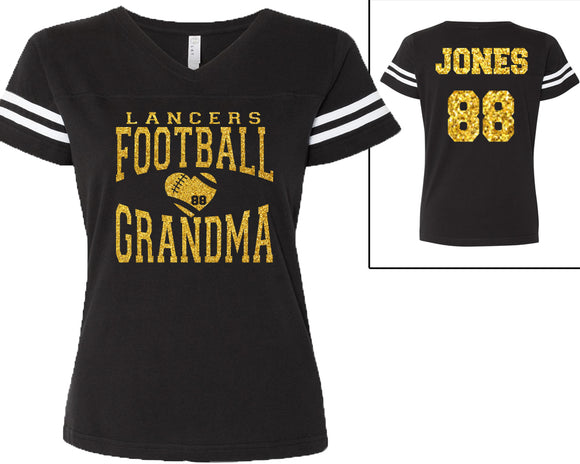 Custom Football Grandma Personalized Glitter Women's Football V-Neck Tee Shirt