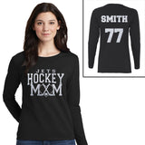 Custom Glitter Hockey Mom with Custom Team Name Long Sleeve Tee Shirt