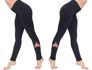 Disney Princess Castle American Apparel Spandex Jersey Leggings Perfect for Vacation