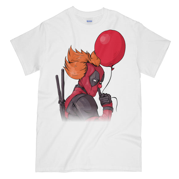 IT is Deadpool Funny White Graphic Tee Shirt - Pennywise Deadpool Mashup