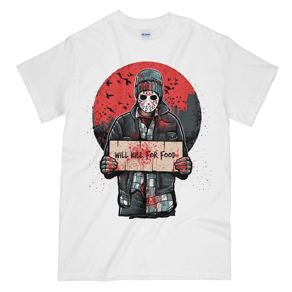 Will Kill For Food Funny White Graphic Tee Shirt - Friday the 13th Jason