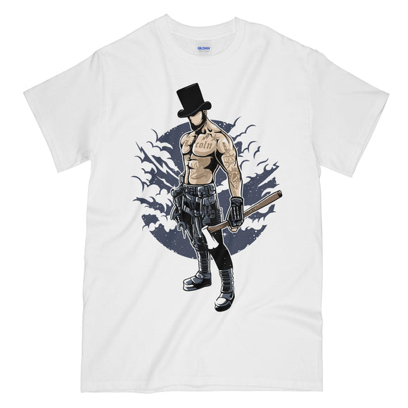 Abraham Lincoln Zombie Killer Funny White Graphic Tee Shirt - President Lincoln