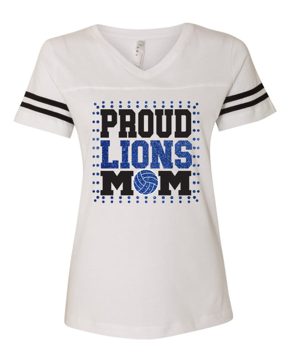 Goddard Lions Proud Volleyball Mom Football Style Glitter Tee Shirt
