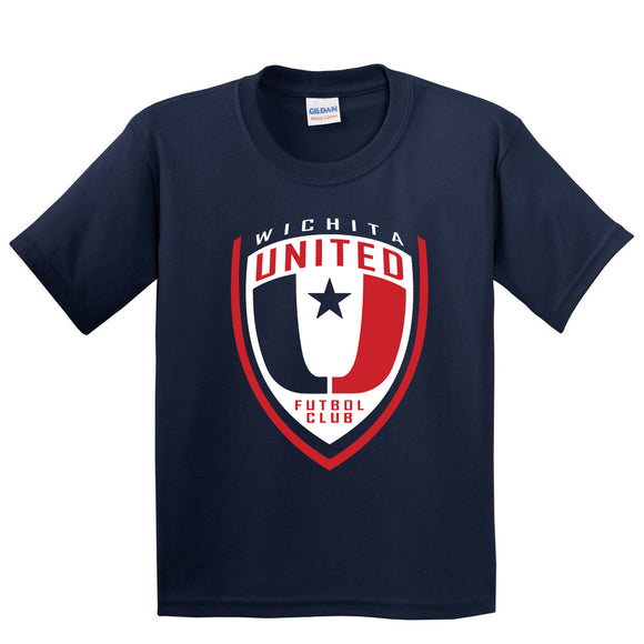 Youth Navy Wichita United Logo on Cotton Tee Shirt