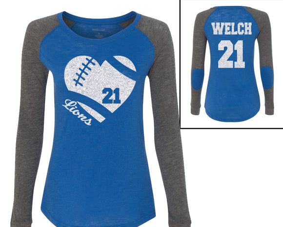 1ecd5f2c7 Football Heart Personalized on the Back Boxercraft Preppy Patch Long Sleeve  Shirts