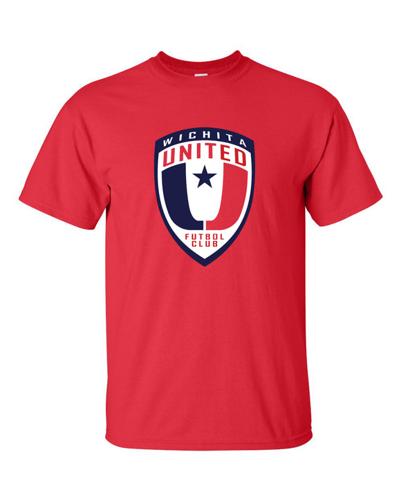 Wichita United Short Sleeve Red Tee With Shield Logo
