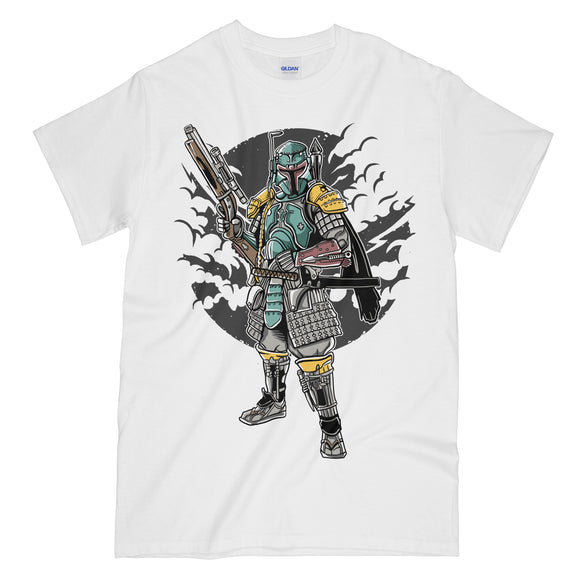 f3a77e6857 Ronin Bounty Hunter Funny White Graphic Tee Shirt - Boba Fett Ronin Star  Wars Mashup